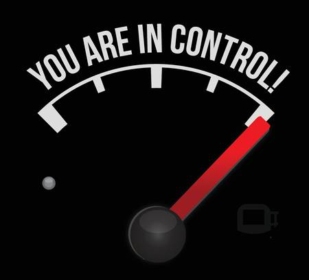 meter with the words You're in Control illustration design