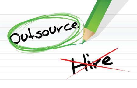 Vektor für Choosing to Outsource instead of hiring illustration design - Lizenzfreies Bild