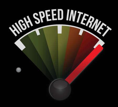 high speed internet Speedometer scoring high speed illustration design over white