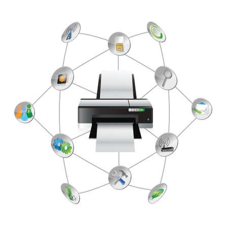 printer settings tools diagram illustration design over white