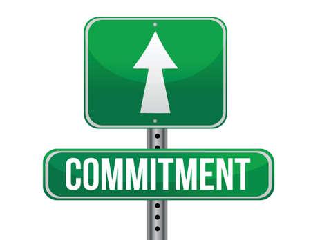 Illustration pour commitment road sign illustration design over a white background - image libre de droit