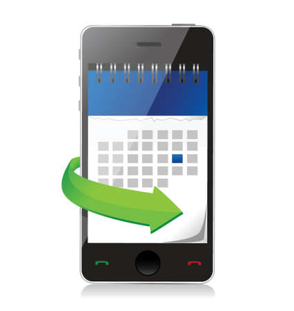 phone with a calendar on screen illustration design over white