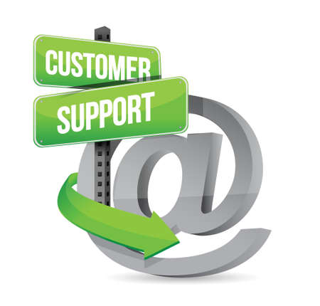 customer support at sign illustration design over white