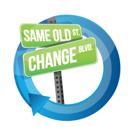 same old and change road sign cycle illustration design over white