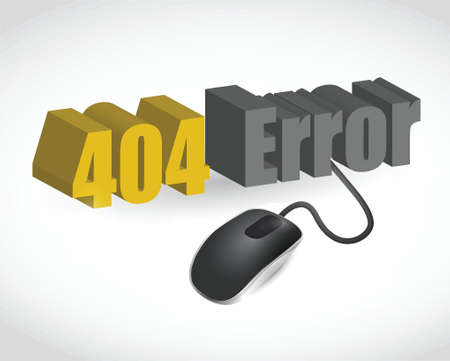 404 error sign and mouse illustration design over white