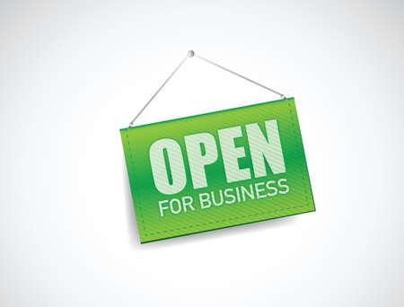 open for business sign illustration design over white