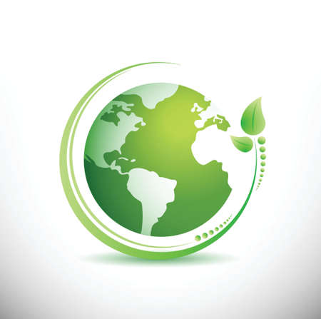 Green earth. Ecology concept. illustration design over white