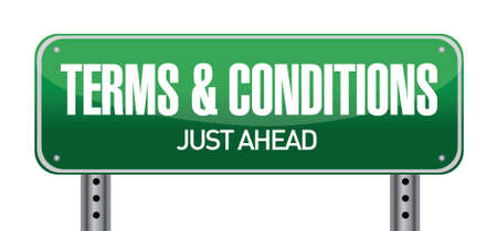 terms and conditions road sign illustration design over white