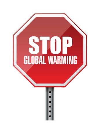 stop global warming red road sign illustration design