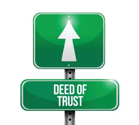 deed of trust road sign illustration design over white