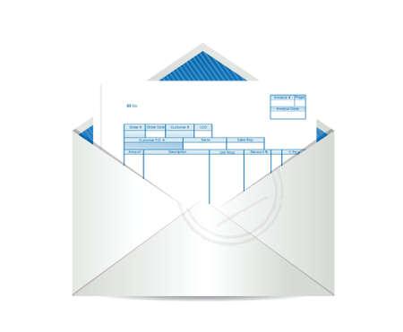 invoice receipt inside mailing envelope illustration design over a white background