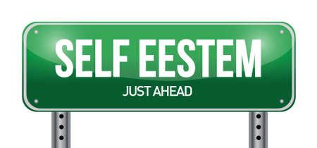 self esteem road sign illustration design over white