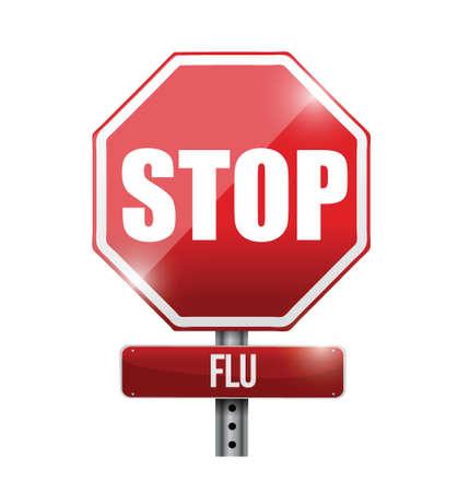 stop flu road sign illustration design over a white background