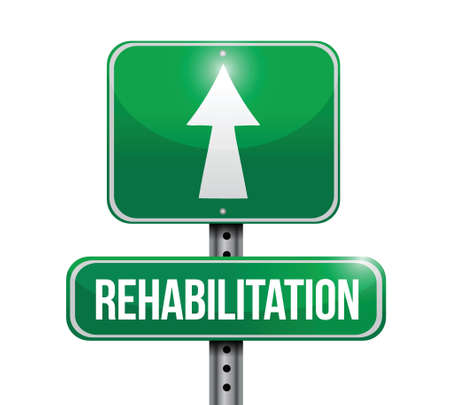 rehabilitation road sign illustration design over a white background