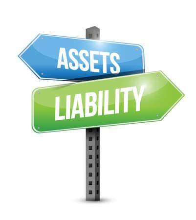 assets liability road sign illustration design over a white background