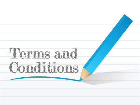 terms and conditions written on a notepad paper