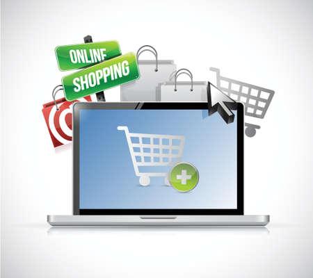 online shopping concept. laptop illustration design over white