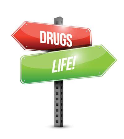 drugs versus life road sign illustration design over white