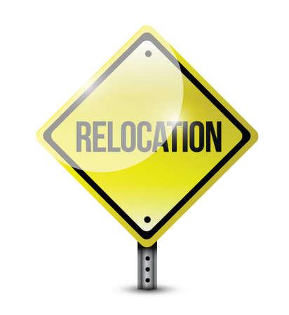 relocation sign illustration design over a white background