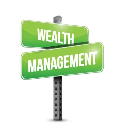 wealth management sign illustration design over a white background