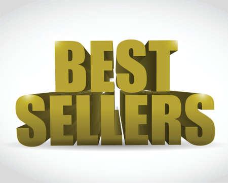 best seller gold sign illustration design over a white background