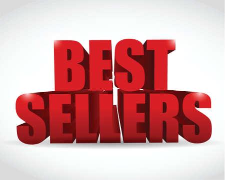 best seller red sign illustration design over a white background
