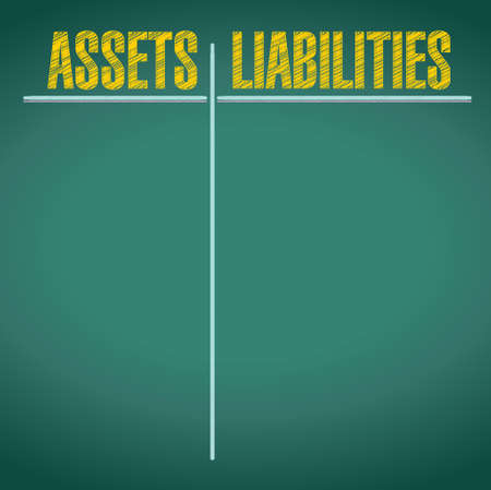 assets and liabilities pros and cons illustration design over a chalkboard background