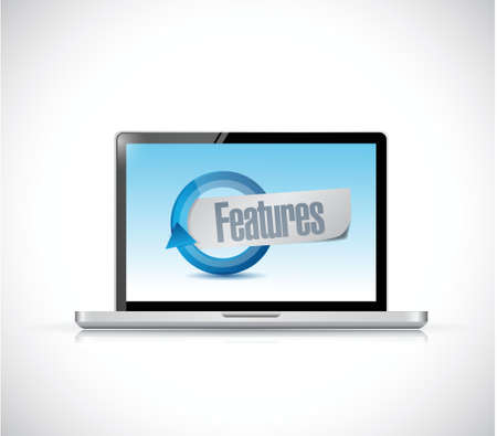 computer features sign illustration design over a white background