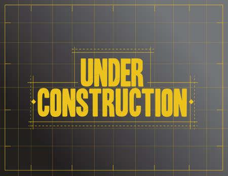 under construction sign illustration design over a black background