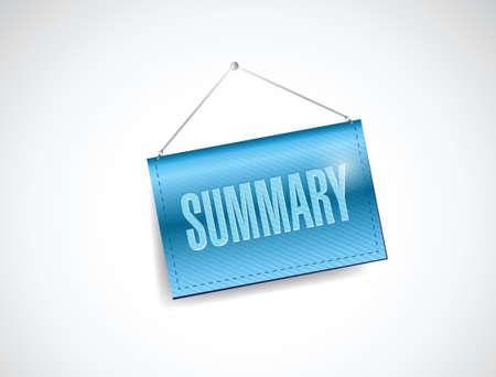 summary hanging banner illustration design over a white background
