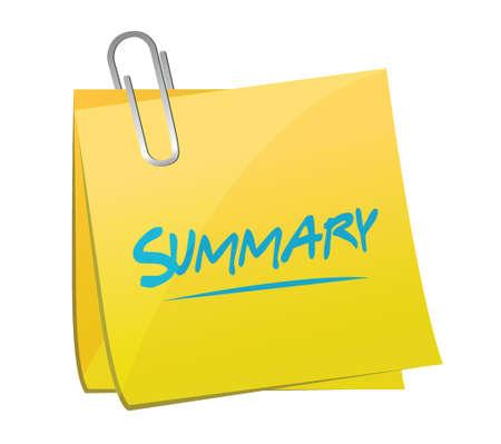 summary memo post illustration design over a white background