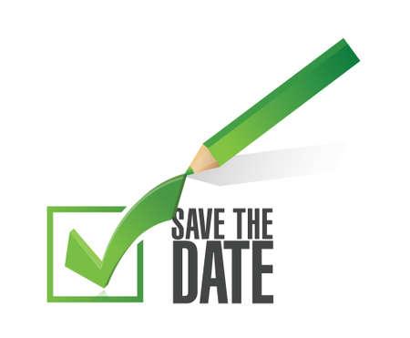 Illustration pour save the date check mark pencil illustration design over a white background - image libre de droit