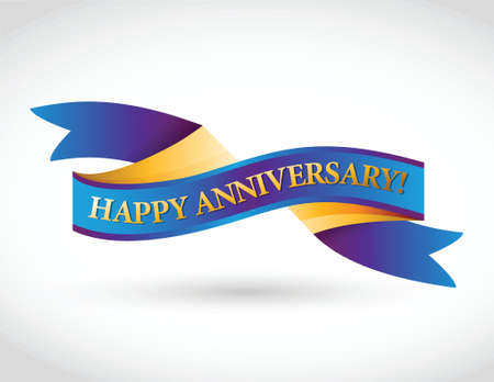 multicolor happy anniversary ribbon illustration design over a white background