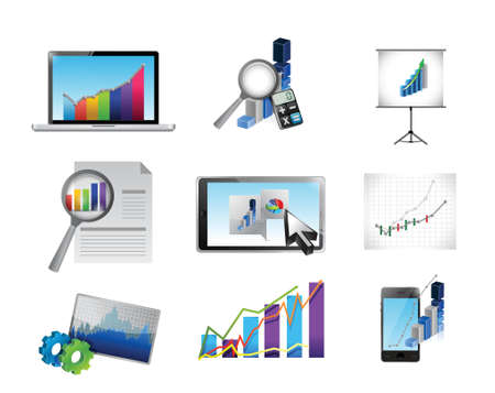 business reporting concept icon set illustration design over white