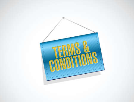 terms and conditions hanging banner illustration design over white