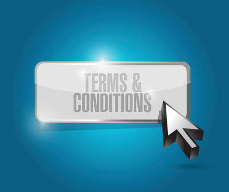 terms and conditions button illustration design over blue