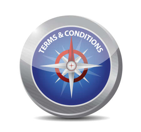 terms and conditions compass illustration design over white