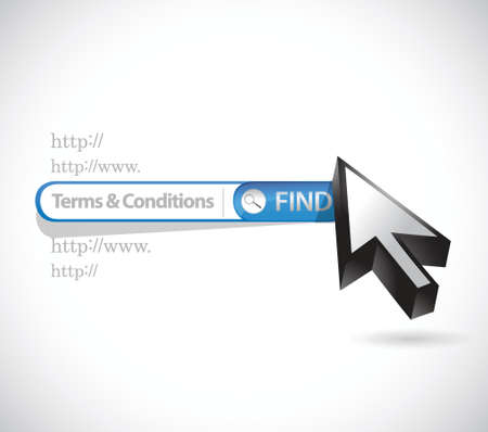 terms and conditions search bar illustration design over white