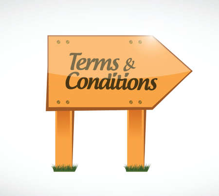 terms and conditions wood sign illustration design over white