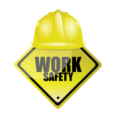 work safety helmet and sign concept illustration design over white