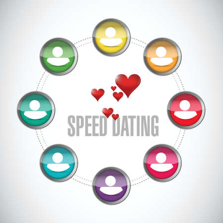 speed dating people diagram sign concept illustration design over white