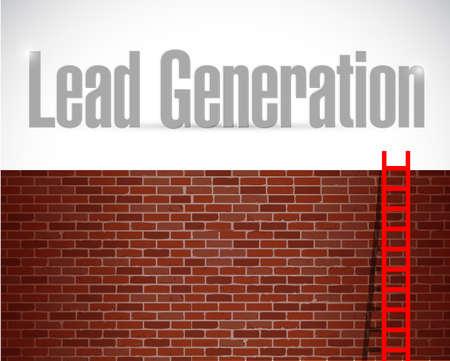 lead generation ladder concept illustration design over a brick wall background