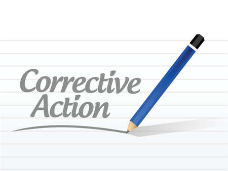 corrective action message sign illustration design over white