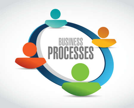 business processes team network sign concept illustration design over white