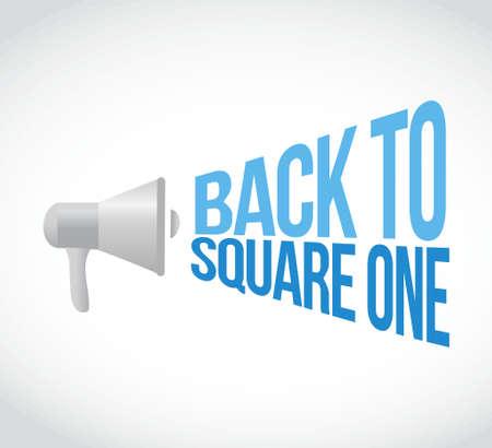 back to square one megaphone loudspeaker message illustration design graphic