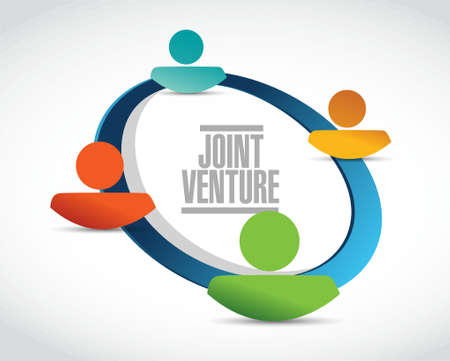 Joint Venture people network sign concept illustration design graphic