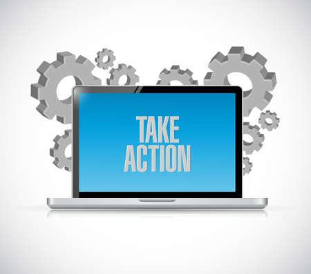 take action computer message illustration design over a white background