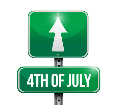 4th of July road sign concept illustration design isolated over white