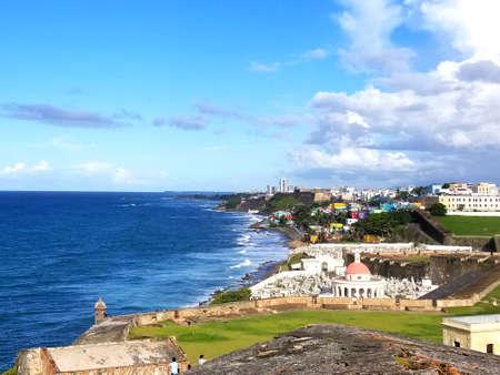 Outside the walls of Fort San Felipe del Morrow castle. Overlooking the Atlantic Ocean. Puerto Rico
