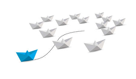 Illustration pour paper boat leader with initiative. leadership guiding concept. blue boat. illustration over a white background - image libre de droit
